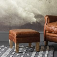 Paddington Stool in Vintage Brown Leather  Goes comfortably with the Paddington Armchair in the vintage brown leather…