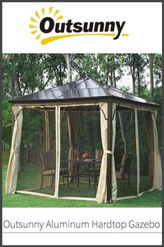 When the warm weather hits, one of the nicest places to be is in your own backyard chillin' out under a gazebo.  But non all gazebos are created equal.  Read our review of the Outsunny Aluminum Hardtop Gazebo to see if this one could suit your backyard entertaining needs.  #outsunny #hardtopgazebo #gazebolife #backyardentertaining #summerfun Hardtop Gazebo, Best Model, Warm Weather, Summer Fun, Good Times, The Good Place, Outdoor Living, Living Spaces, Pergola