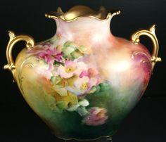 Antiques JPL  Limoges 2 Handle Vase with Pink Roses Gold Handled #Limoges