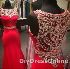 Red Jersey with Rhinestones Beaded Mermaid Prom Dress Sexy Prom Gown APD1518 on Storenvy