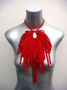 Jewelry Bib Necklaces Womens Fashion Fabric Necklace Bibs Jewellery Tribal African Neckpiece Choker Fiber Unique Ethnic Cotton Apple Red