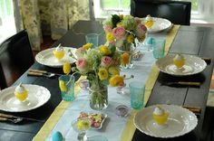cute easter table - easy and fun to recreate -- visit the Housewares Department at Thrift Town for colorful vintage glassware!