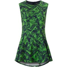 Whistles Anais Print Sleeveless Top ($76) ❤ liked on Polyvore featuring tops, green, shirts, pleated top, sleeveless tops, green sleeveless shirt, green tank and no sleeve shirts