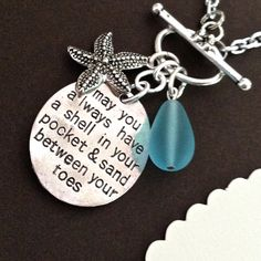 BEACH NECKLACE beach quote starfish sea glass charm by MimiJewels