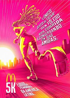 McDonald's is the largest female race in Latin America, created to stimulate the search of a healthier life Style. Sports Graphic Design, Graphic Design Trends, Graphic Design Posters, Graphisches Design, Flyer Design, Print Design, Creative Poster Design, Creative Posters, Mcdonalds