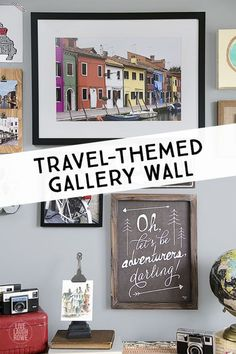 a great way to display your travel experiences! A travel-themed gallery wall. with a DIY Instagra Cadre Photo Instagram, Diy Instagram, Diy Spring, Travel Gallery Wall, Travel Wall Decor, Travel Crafts, Up House, House Swap, Roomspiration