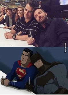 Batman & Superman get cozy. #BvS Ben Affleck and Henry Cavill