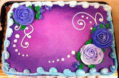 Swirls and roses sheet cake