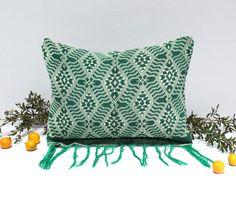 """""""Emerald Tribe"""" - Handloomed Sumba Ikat Pillow, Lumbar Pillow, Rectangular"""