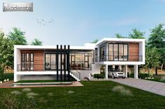 Single Story Three Bedroom House Plan Designed To Be Built In 233 Square Meters Modern Minimalist House, Home Modern, Modern House Plans, Modern House Design, Villa Design, Single Storey House Plans, One Storey House, Three Bedroom House Plan, House Design Pictures