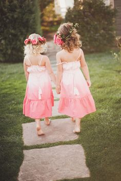 Little cuties in ombre dress   Photographer: Michelle Warren Photography  Venue:  Cass House Inn, Cayucos CA  Hair & Makeup: Rhyan Townsend Creative Director, Florist & Styling: Adornments Flowers & Finery Fashion & Beauty Collaboration: Kierna Terrisse from Beauty Mark Marketing