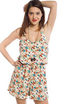 Floral Flow Floral Print Romper - Coral from Room Mates at Lucky 21