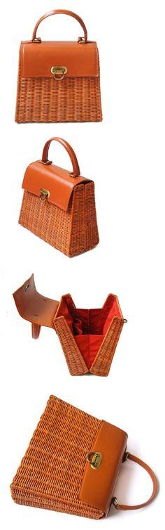 Bags Handbags and Cases 74962: Wicker Bag Rattan Handbag Genuine Leather Closure Handles Handmade Purse Lining -> BUY IT NOW ONLY: $235 on eBay!