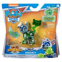 Paw Patrol Mighty Pups Super Paws Rocky Figure Paw Patrol Toys Paw Patrol Paw Patrol Pups