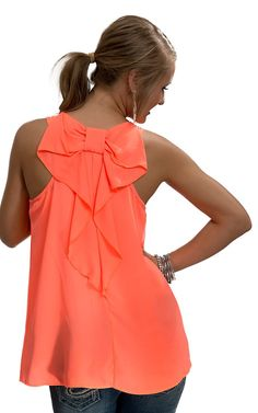Karlie® Women's Neon Coral with Bow Racer Back Sleeveless Fashion Tank Top