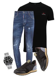 """D2papi"" by dailyfasinsk on Polyvore featuring Dsquared2, Valentino, Rolex, men's fashion en menswear"