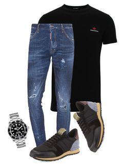 """D2papi"" by dailyfasinsk on Polyvore featuring Dsquared2, Valentino, Rolex, men's fashion en menswear"