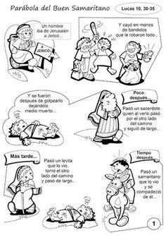 Pasatiempos sobre la Parábola del Buen Samaritano:                       Fuente: elrincondelasmelli   Colorea la Parábola del Buen Samaritan...