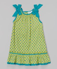 Loving this Lime Daisy Bow Tie Ruffle Dress - Infant, Toddler & Girls on #zulily! #zulilyfinds