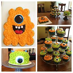 Monster cake with cupcakes. Love this idea. Kid Cupcakes, Monster Cupcakes, Cupcake Cakes, Cup Cakes, Pull Apart Cupcake Cake, Pull Apart Cake, Monster Birthday Parties, Monster Party, Birthday Ideas