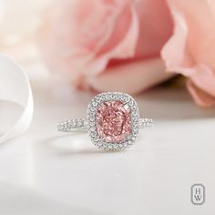 A rare cushion-cut pink diamond ring. Pink Diamond Wedding Rings, Pink Diamond Jewelry, Big Wedding Rings, Wedding Rings Solitaire, Wedding Ring Designs, Beautiful Engagement Rings, Alternative Engagement Rings, Vintage Engagement Rings, Diamond Engagement Rings