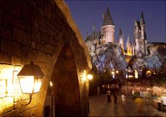 Hogwarts CastleThe park's almost life-size replica of the imposing castle looms over Hogsmeade Village in this photo taken at night.