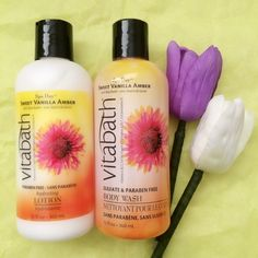 """""""Both the Vitabath Sweet Vanilla Amber Body Bath and Lotion perfectly captures the sweet scent of Amber, Vanilla & Tiare flower. I love how soft & smooth my skin feels after bathing with the body wash. The moisturizing lotion was rich but not greasy. It soothed my dry skin & the scent lasts all day."""""""