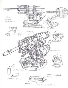 Flak cannon turret by TugoDoomER on DeviantArt Anime Weapons, Sci Fi Weapons, Fantasy Weapons, Tower Defense, Weapon Concept Art, Cyberpunk Art, Mechanical Design, Dieselpunk, Steampunk Airship
