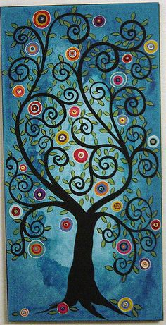"""Leafy Blooming Swirl Tree"" by Karla G"