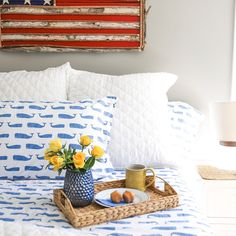 It's a whale of a percale! Styled by blogger Stephanie Stellwagen, our best-selling printed sheets add a touch of coastal-cottage charm to the seasonal bed. They're also offered in Coral Shells, Teal Turtles, Lapis Buoys and more, so you're bound to find an original print to float your boat. Craftsman House Plans, Country House Plans, Modern House Plans, Small House Plans, House Floor Plans, Coastal Living Rooms, Coastal Cottage, Coastal Homes, Sale Of The Day