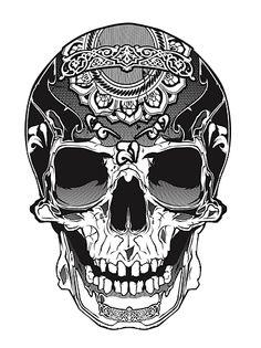 Motif sur le haut du crâne