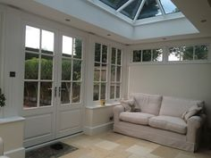 Interior of Timber Orangery with Roof Lantern in Solihull Porch Roof Styles, House, Garden Room Extensions, Porch Roof Design, Cottage Homes, Roof Styles, New Homes, Orangery Roof, Roof Design