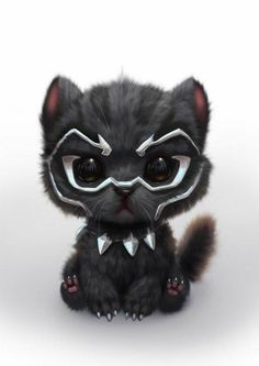 Black Panther as a cute Kitty Cute Little Animals, Cute Funny Animals, Cute Cats, Cute Animal Drawings, Cute Drawings, Kawaii Drawings, Cartoon Cartoon, Marvel Art, Loki Marvel