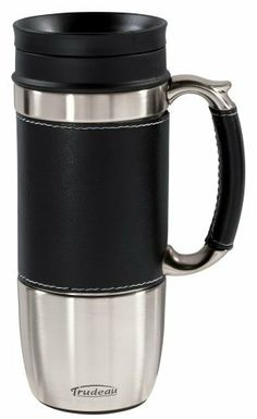 Trudeau Board Room 16-Ounce Travel Mug, Black by Trudeau. $13.91. Insulated travel mug. Durable hand washable leather like accents. Guaranteed leak-proof; patented Perfect Drink lid. Stainless steel outside and inside walls. Keeps drinks hot for up to 2 hours. With the Board Room Travel Mug you'll be able to keep your favorite hot or cold beverage with you and keep it hot or cold. This double wall insulated travel mug will keep your hot drink hot, for up to two hours. I...