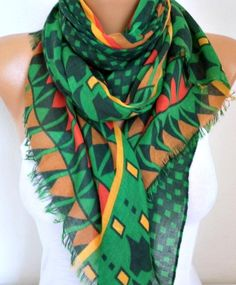 Green Cotton Scarf Teacher Gift Spring Summer by fatwoman on Etsy