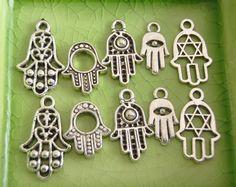 10 silver hamsa hand of Fatima evil eye charms pendants by LePriss, $2.49