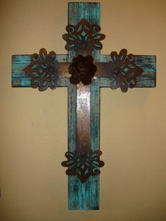 Wood / iron cross with plasma cut center cross with rusty rose.  Rustic Elegant Turquoise, Old World, Hacienda, Spanish Style, Christian, Tuscan Home Decor.