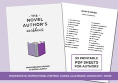 Novel Planner for Fiction writers - The Novel Authors Workbook is a printable, PDF workbook designed to help you have a successful novel writing + book launch experience. Keep track of the details of your story and prompts you to develop it further. Pre Writing, Fiction Writing, Writing A Book, Writing Tips, Make Your Own Map, Blank Book Cover, Outlining A Novel, Editing Checklist, Writing Fantasy