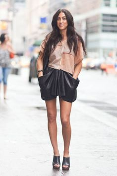 Nicole wears a vintage top with Alexander Wang shorts and Cynthia Vincent shoes