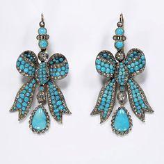 1850s Turquoise Earrings, how lovely