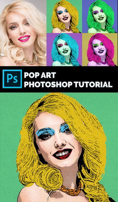 In this tutorial I will show you how to make pop art in Photoshop starting from a photo. For this Photoshop pop art effect you will need a starting photo and a halftone texture.  To make the pop art effect in Photoshop we use the Poster Edges filter, the Photocopy filter and the Gradient Map adjustment layer. All these, combined with manually painting the color patches and adding the halftone texture create a cool pop art portrait effect. Photoshop Video, Free Photoshop, Photoshop Tutorial, Pop Art Effect, Cool Pops, Pop Art Portraits, Andy Warhol, Video Tutorials, Filter