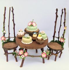 floral fairy furniture with cakes