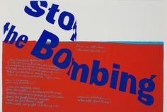 """""""stop the bombing,"""" 1967. Silkscreen print on paper. 15 ½ x 23 1/8 inches. 