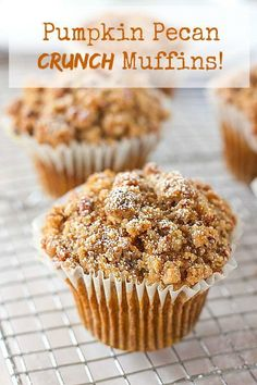 Pumpkin Pecan Crunch Muffins with tons of yummy crunchy stuff on top!
