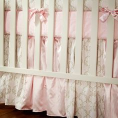 """Girl Baby Crib Bedding: Pink and Taupe Damask Crib Skirt - 14"""" or 20"""" by Carousel Designs"""