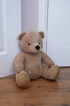 Ribbed Fabric Teddy Bear Door Stop - This teddy bear doorstop, in a lovely honey colour, will look great in a child's room but is also a perfect gift for all those grown-up teddy bear collectors - RRP £14.99 NOW ON SALE FOR £8.99