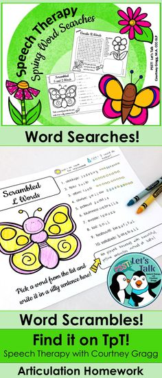 Speech Therapy Word Searches & Scrambles for Spring homework. Print-and-Go speech therapy resource!