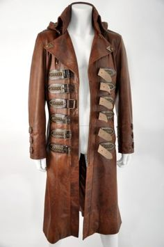 Signature Antique Tan Leather Exclusive to Impero. A superior tailcoat style with strong high collar, large lapels featuring buttonhole detail and epaulettes. Tan Leather, Leather Jacket, Steampunk Jacket, Dieselpunk, High Collar, Coat, Hoods, Military, Mens Fashion