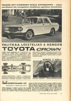 Vintage Ads, Cars And Motorcycles, Finland, Toyota, Nostalgia, Vans, Japanese, Retro, Classic