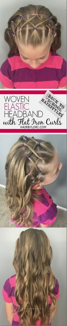 Terrific Woven Elastic Headband hairstyle with flat iron curls – love this cute back to school hair tutorial, it's perfect for picture day! The post Woven Elastic Headband hairstyle with flat . Girly Hairstyles, Little Girl Hairstyles, Hairstyles For School, Headband Hairstyles, Picture Day Hairstyles, Latest Hairstyles, Flat Iron Curls, How To Curl Your Hair, Toddler Hair